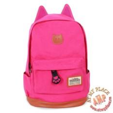 Розовый рюкзак с ушками кошки