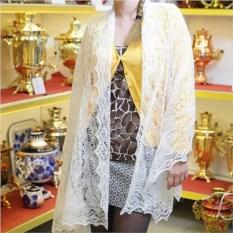 Оренбургский пуховый платок ручной работы белого цвета