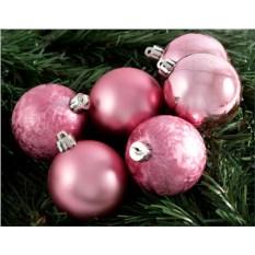 Набор ёлочных шаров розового цвета