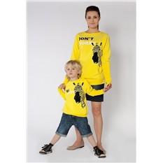 Комплект жёлтых толстовок Be happy для мамы и сына