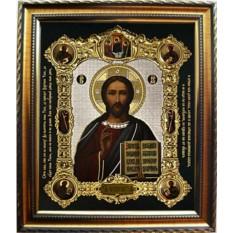 Икона Христа Спас Вседержитель в серебряном окладе