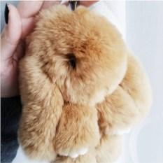 Брелок из натурального меха кролики (13 см)
