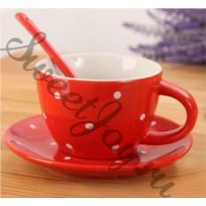 Чашка с блюдцем и ложкой Ribbon Dots Red
