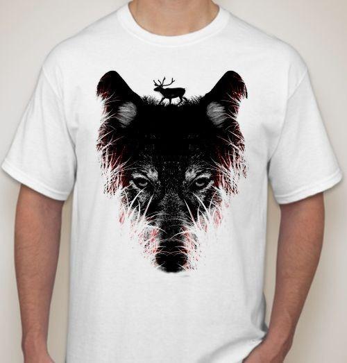 Мужская футболка Волк с оленем на голове