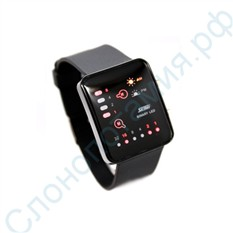 Наручные бинарные LED часы 8/32, черные
