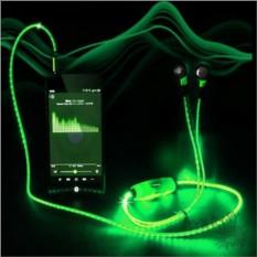 Зеленые светящиеся LED наушники