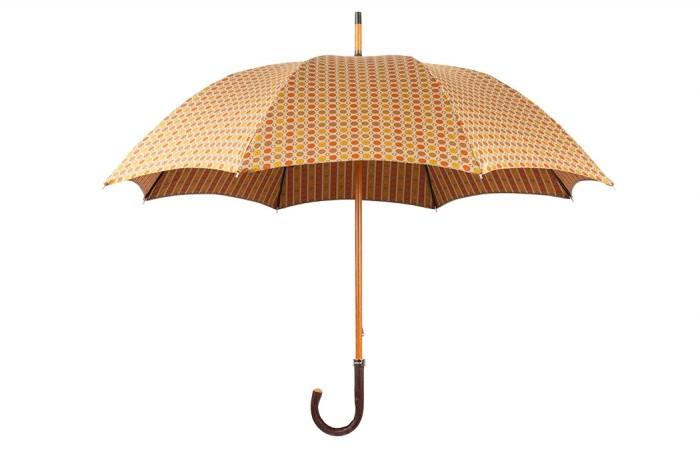 Зонт Mario Talarico, коричнево-оранжевый с узором