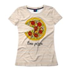 Женская футболка One love, one pizza