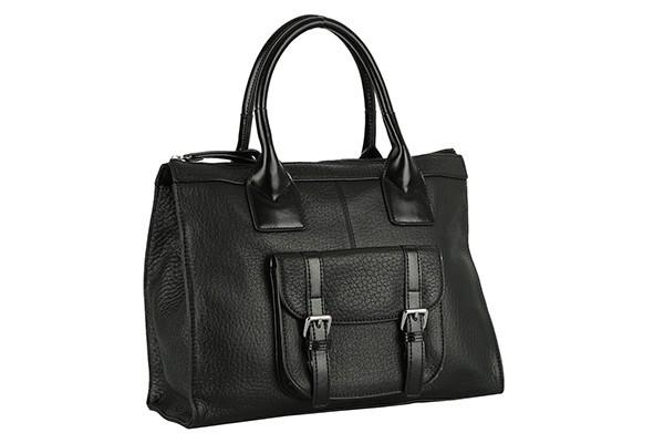 Чёрная кожаная женская сумка Fabretti