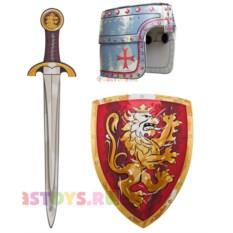 Детский красный набор рыцаря (щит, меч, шлем)
