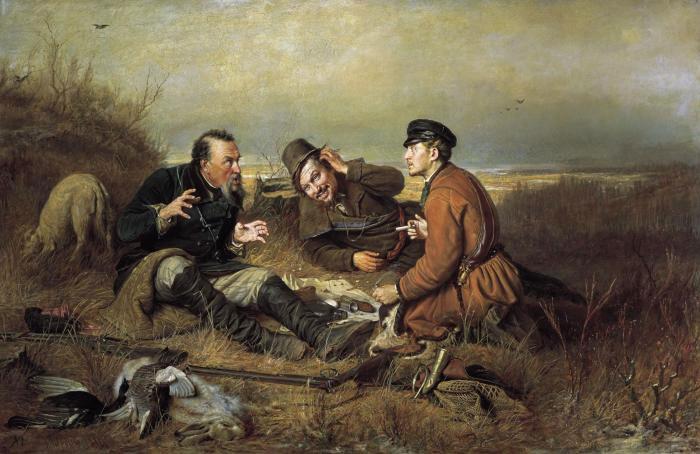 Репродукция картины Перова «Охотники на привале»