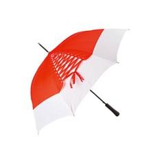 Красный зонт-трость «Шнуровка» с черной ручкой