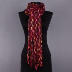 Зимний женский шарф в вишневых тонах
