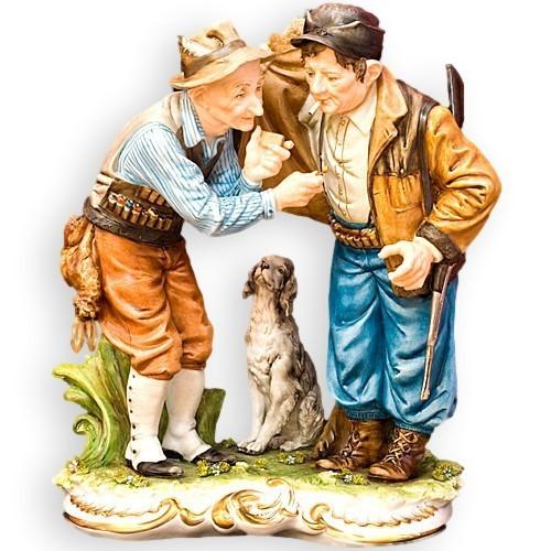 Композиция из фарфора Охотники с собакой