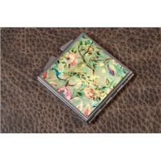 Карманное зеркальце Винтажный цветочный паттерн (белый)