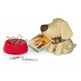 Подставка для скрепок и визиток собачка бежевая