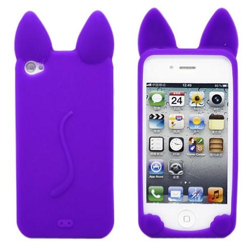 Сиреневый чехол для iPhone 4(4S) «Kitty»