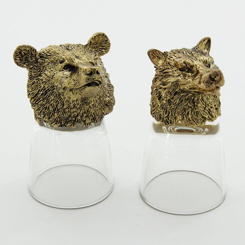 Рюмки-перевертыши с головами животных Кабан и медведь