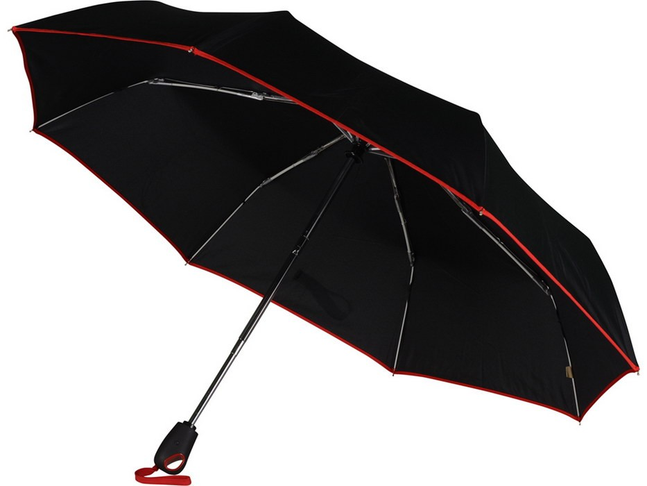 Складной автоматический зонт, с красной окантовкой