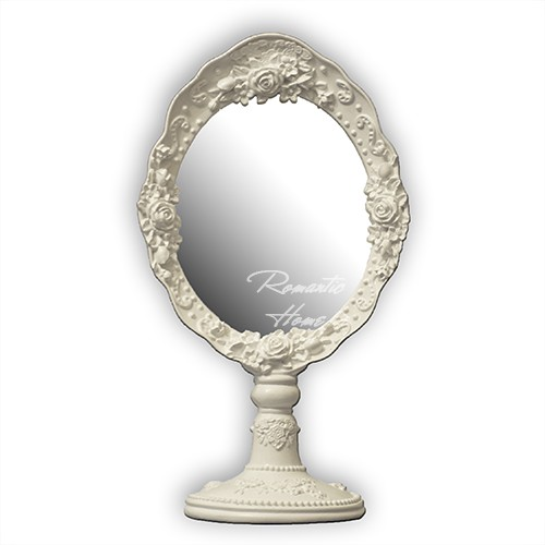 Настольное зеркало белое Shabby chic