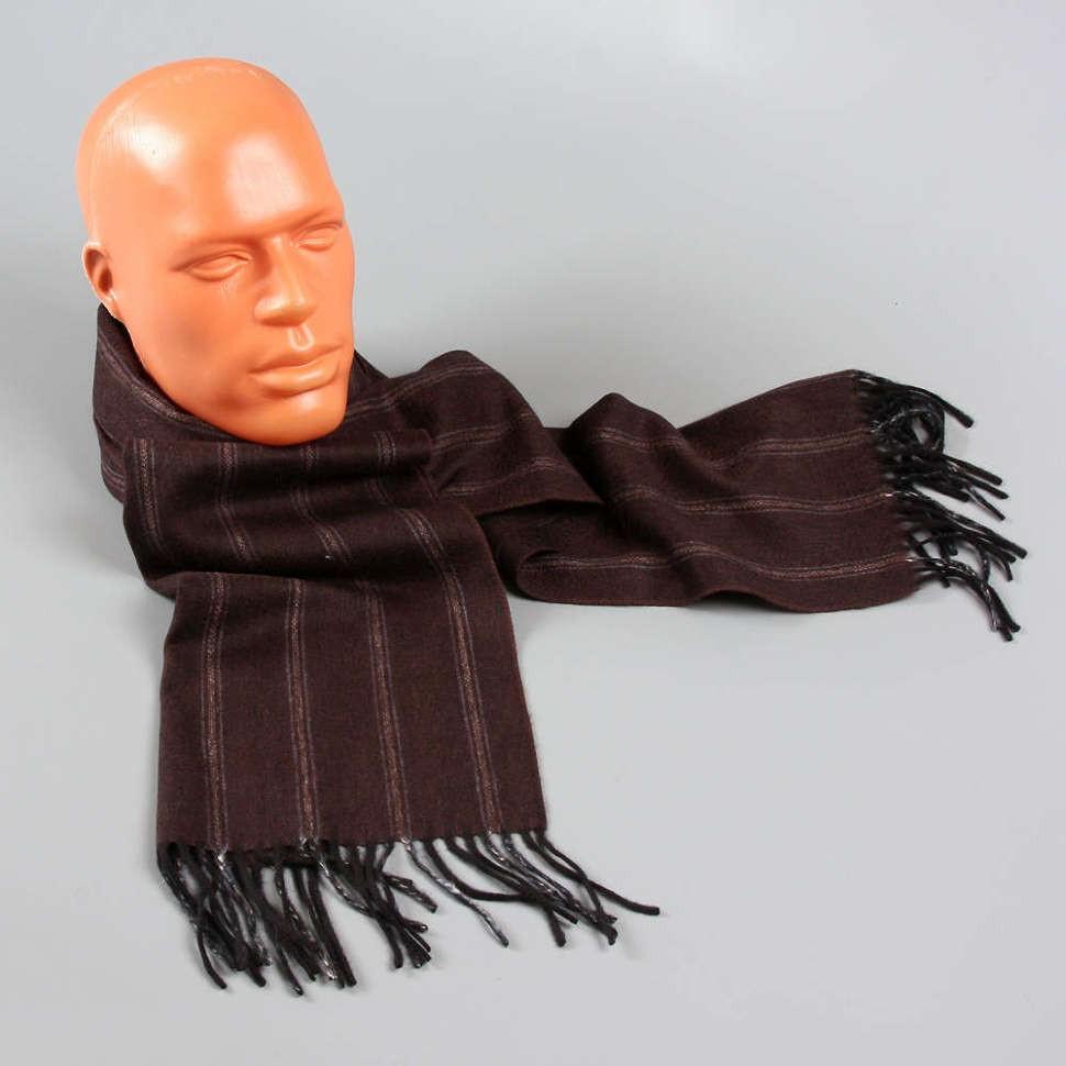 Мужской темно-коричневый шарф в полоску Halstech