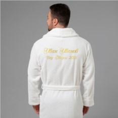 Мужской халат с вышивкой Дед Мороз-2018 (белый)