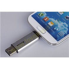 Флешка для смартфона Uniscend Doubles, серебристая, 16 Гб