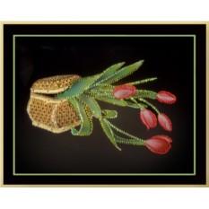 Картина с кристаллами Swarovski Шкатулка с тюльпанами