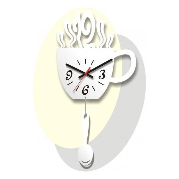 Часы Чашка и ложка, белые