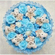 Голубой букет Романтика из медвежат
