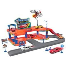 Игровой набор Гараж, 4 машины и вертолет