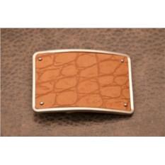 Пряжка для ремня с кожаной вставкой. Коллекция G.Design (бежевый, черепаха; нат. кожа)