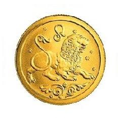Монета - Лев, золото, 25 рублей