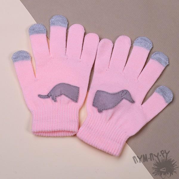 Розовые тouch-перчатки Такса