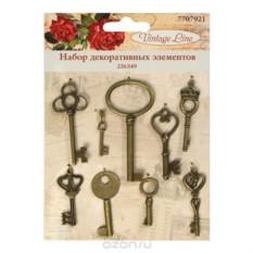 Набор декоративных элементов Ключи, 9 шт.