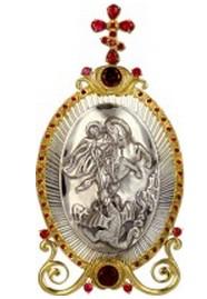 Настольная серебряная икона с образом святого великомученика Георгия Победоносца