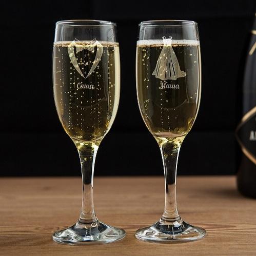 Бокалы для шампанского Красивая пара