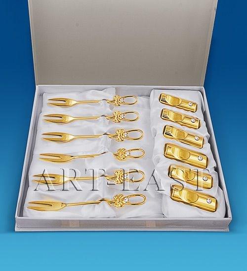 Набор позолоченных вилочек с подставками (6 шт.)