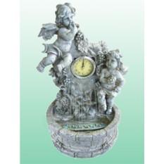 Фонтан с направлением воды вверх Часы с ангелами