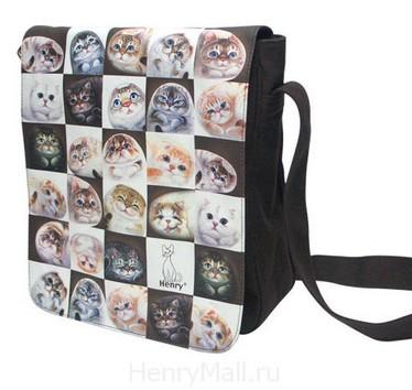 Сумка-планшет с изображениями кошек «Кошки в клетках»