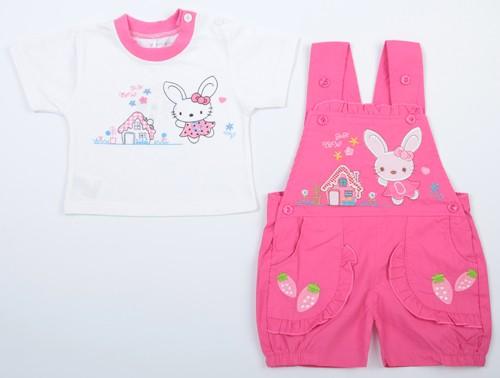 Комплект футболка и полукомбинезон, цвет: розовый 74 размер