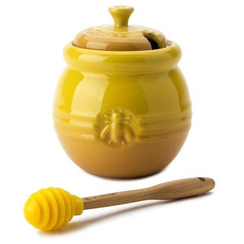 Банка для меда с силиконовой лопаткой, желтая, Le Creuset
