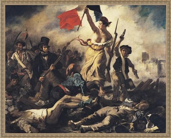 Репродукция на холсте Делакруа «Свобода, ведущая народ»