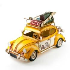 Модель желтого ретро-авто с фоторамкой и копилкой