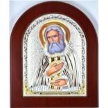 Икона Серафим Саровский в серебряном окладе