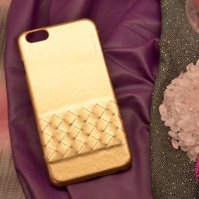 Кожаный чехол-накладка для iPhone 6S Plus/6 Plus цвета золота