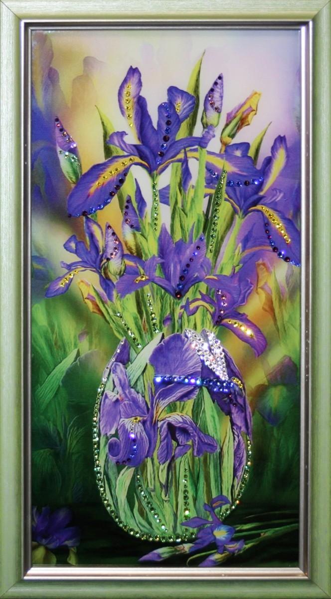 Картина с кристаллами Сваровски Букет ирисов