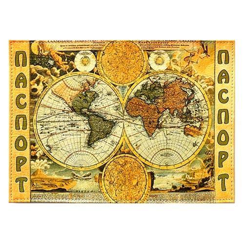 Обложка кожаная на паспорт Карта мира
