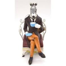 Декоративная фигурка-ограничитель для книг Зебра в кресле