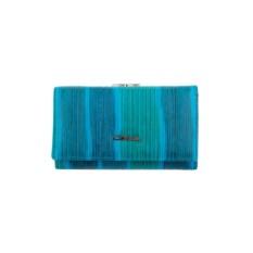 Женский голубой кожаный кошелек G.Ferretti